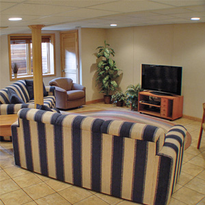 A Finished Basement Living Room Area in Henrietta, NY