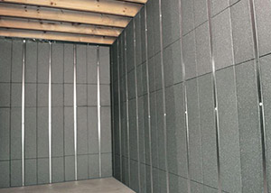 SilverGlo™ insulation and metal studs making up our Basement to Beautiful™ panels.  Installed in Canandaigua.