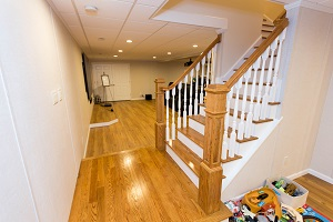 Finishing touches for a remodeled basement in Fairport
