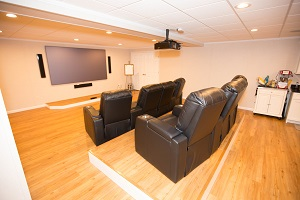 A basement turned into a home theater in Rochester